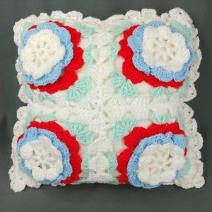 Vtg Granny Square Pillow Crochet Cover 18 inch